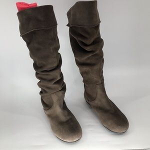 Gianni Bini Brown Suede Fold Over Flat Boots Sz 7